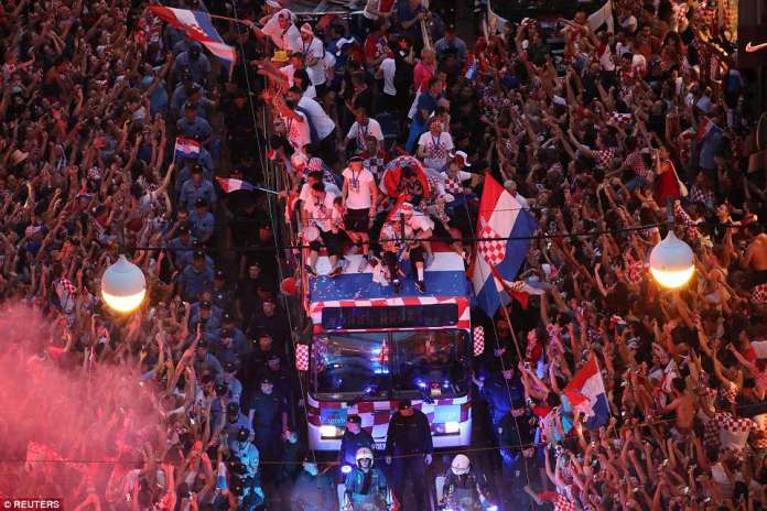 The Croatian football team were given a heroes welcome despite their loss to France, having reached the final for the first time