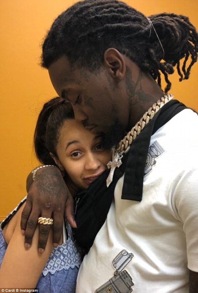 Taking on parenting: On Monday, Cardi B shared a photo of her and her usband Offset at the Pediatrician's office with their baby girl