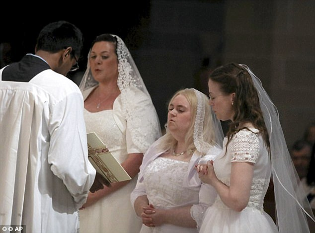 A Detroit church last year presided over a ceremony which saw three women, garbed in traditional wedding dresses, vow lifelong virginity