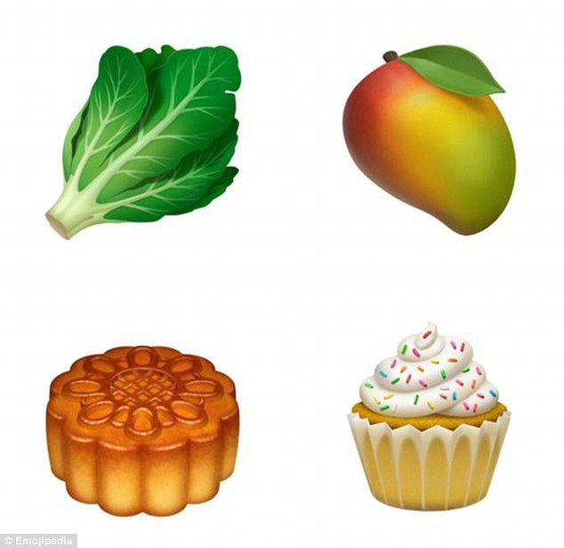 Healthy eaters will be pleased to see a selection of new fruit and vegetables made the cut, including a mango (top right) and lettuce (top left). Apple has also added a number of sweeter items, such as a cupcake (bottom right) and moon cake (bottom left)