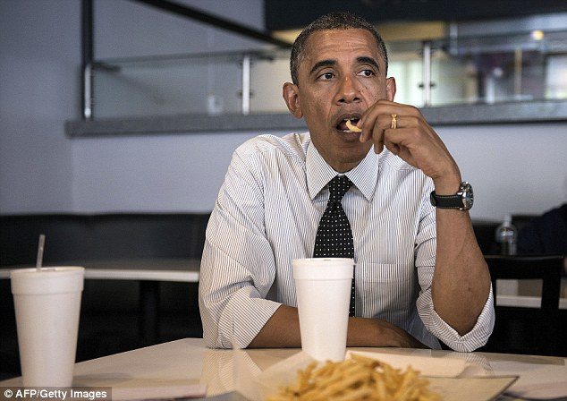 He also told the crowd on Tuesday that 'There's only so much you can eat,' before it was time to share the wealth