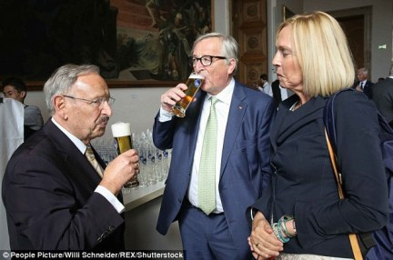 Jean-Claude Juncker (pictured sharing  a beer at the Bavarian parliament in June) has been accused of enjoying the bottle too much
