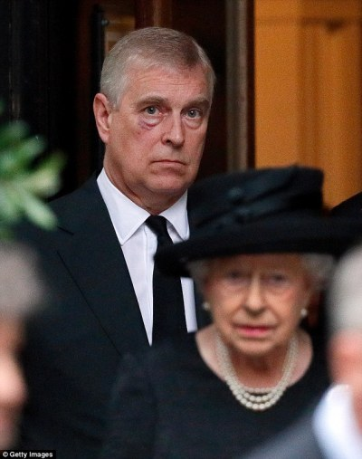 Prince Andrew was also pictured with bruising under the eye while attendingthe Countess Mountbatten of Burma's funeral in June 2017