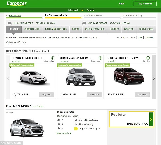 A screenshot shows a Europcar customer from India would be charged just £95 (8,620 Indian rupees) to hire a Holden Spark in New Zealand for five days, while Brits would pay £124