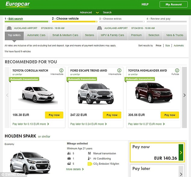 Drivers in Germany would be charged even more than ones in Britain with Europcar - £125 (140 euros) for the same time period - and drivers based in America would pay £119