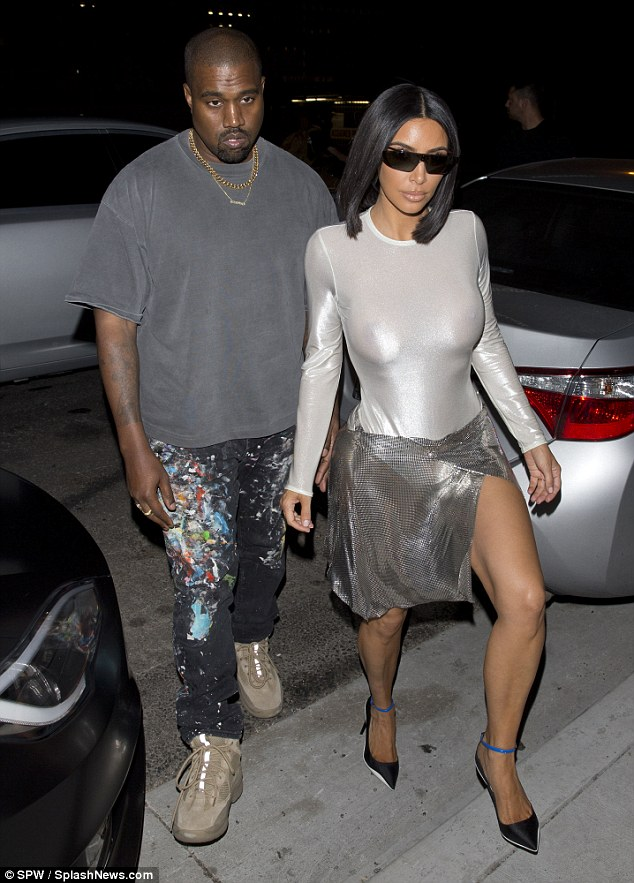 Photos: Kim K puts her nipples on display in a skintight bodysuit as she steps out on date with Kanye West