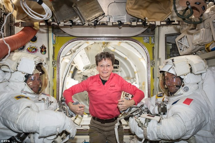 NASA astronaut Peggy Whitson (C) posing with Expedition 50 Commander Shane Kimbrough of NASA (L) and Flight Engineer Thomas Pesquet of ESA (European Space Agency, R) prior to their spacewalk, in space, 24 March 2017