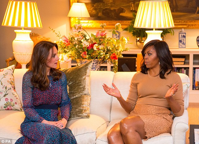 The Duchess of Cambridge reportedly recommended Organic Botox to former US First Lady, Michelle Obama, pictured visiting Kensington Palace in April 2016