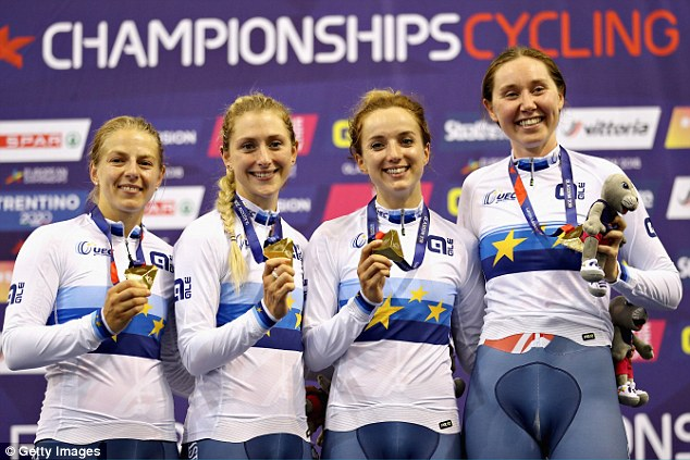 Great Britain team Neah Evans, Kenny, Elinor Barker and Katie Archibald (left to right) celebrate winning the gold medal in the Women's Team Pursuit