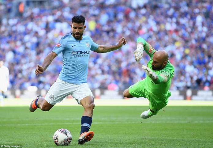 Unusually, the Argentine forward was wayward with his shot having broken clear to take it round his compatriot
