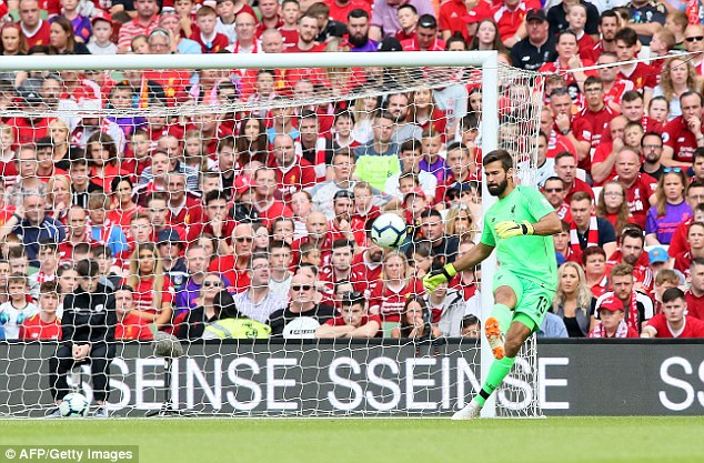 The Brazilian keeper shone on his debut as Liverpool thrashed Napoli 5-0 in a pre-season game