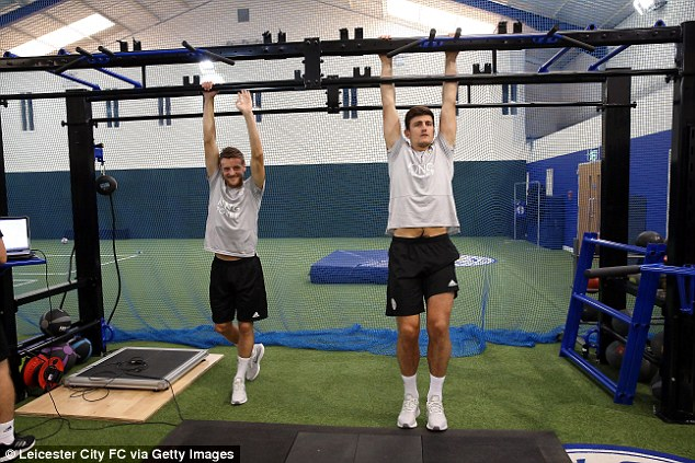 The pair went head to head on the metal bars with Maguire getting the edge over Vardy