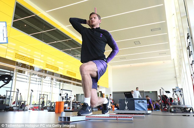 Vertonghen practises his balance after returning to training for the first time this summer