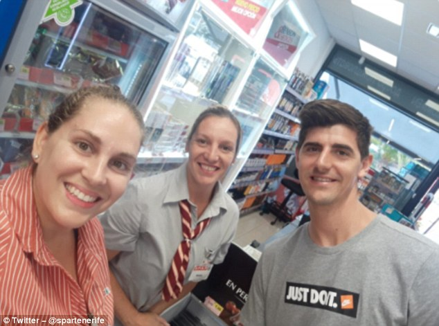 Hours later a Spar convenience store in Tenerife tweeted this picture of Courtois shopping
