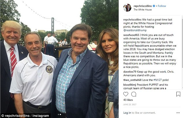 Rep. Chris Collins was one of President Trump's biggest supporters on Capitol Hill, he's seen here at the Congressional Picnic at the White House with Trump and first lady Melania Trump