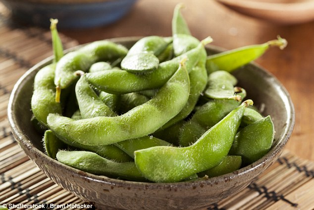 Foods that are high in soy, such as edamame, strengthen the bones of females who are no longer fertile. Women can lose up to 20 per cent of their bone density after menopause (stock)