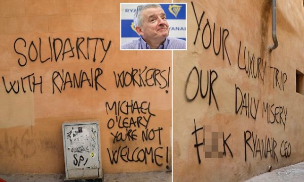 Foul-mouthed graffiti is sprayed on walls of Ryan Air boss ...
