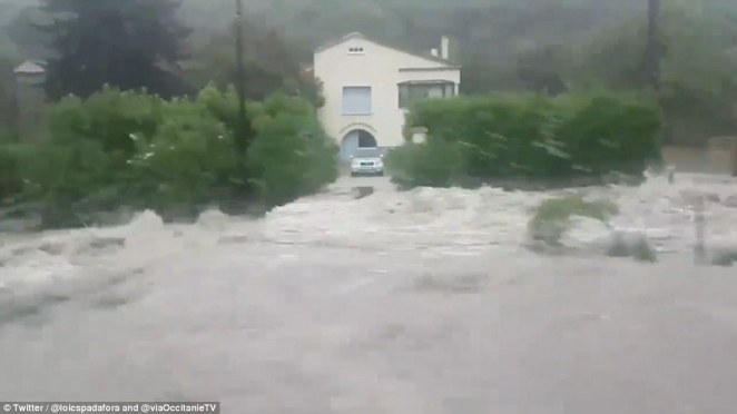 Floods have swept through the south of France as the European heatwave gives way to dramatic storms