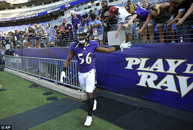 Maryland protest: Baltimore Ravens' Tim Williams stood out of his team lineup with his back turned to the field during The Star-Spangled Banner. He was seen before the protest