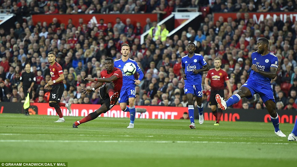 Pogba had another chance to score for United with a well-struck volley from distance, but the keeper easily dealt with it