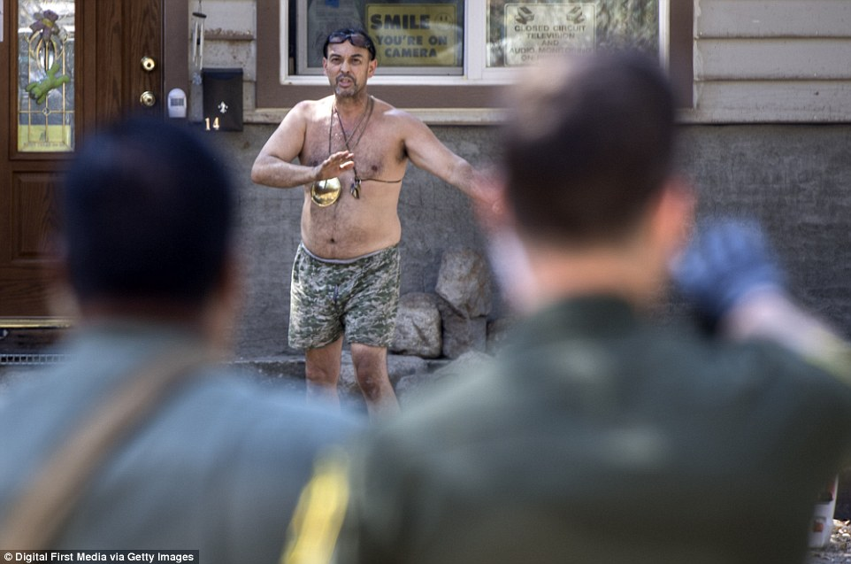 Clark stripped down to camouflage underwear as deputies tried to question him about the Holy Fire on Tuesday