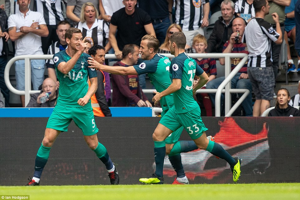 Defender Vertonghen (L) celebrates after opening the scoring for Spurs against Newcastle in the Premier League encounter