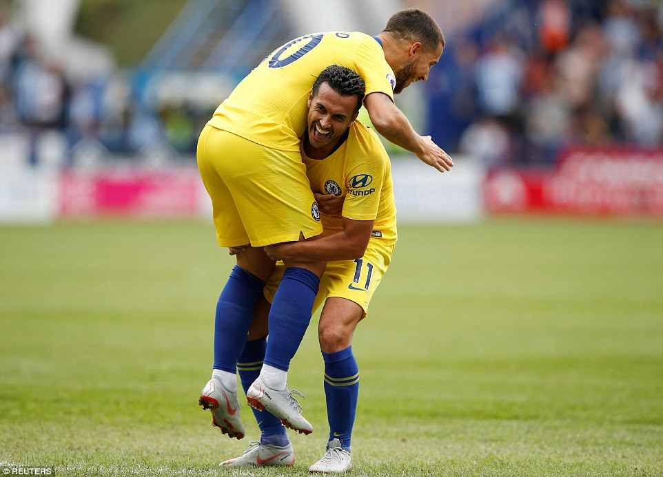 Hazard and Pedro celebrate together after linking up for Chelsea's third goal to seal an impressive away victory