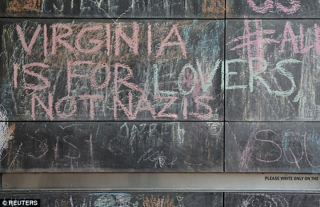 'Virginia is for lovers not Nazis' another poignant chalk message says in anticipation of 1,000 protesters expected to show up in Charlottesville on Sunday