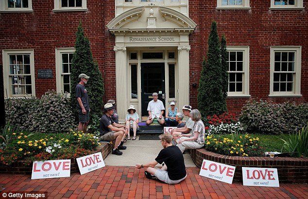 Members of the Charlottesville community were spotted meditating outside the Renaissance School