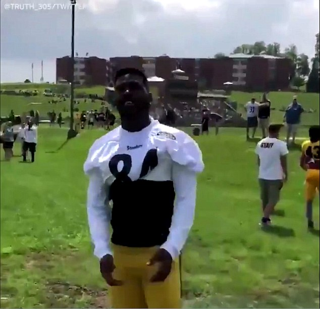 The unidentified trespasser was seen talking to Steelers star Antonio Brown, who later joked the fan wanted to 'check him' (above)