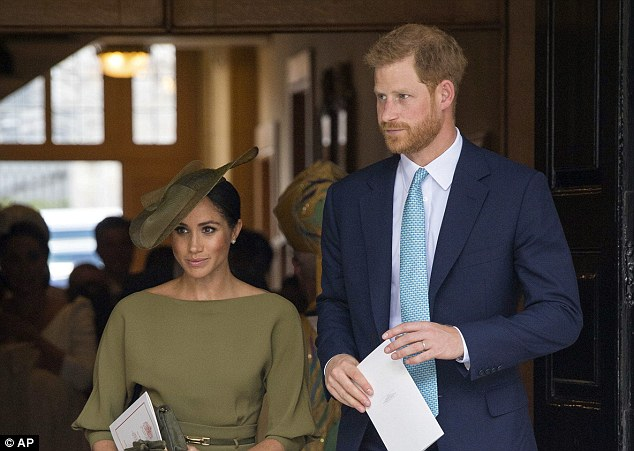 Mr Markle did not attend the royal wedding of Prince Harry and Meghan in Windsor (the couple are pictured together at the christening of Prince Louis at St James's Palace last month)