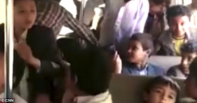 Heartbreaking: The video shows the excited children playing around on the bus, just hours before it was hit by a missile in Dahyan, Saada province, Yemen, killing 40 of them