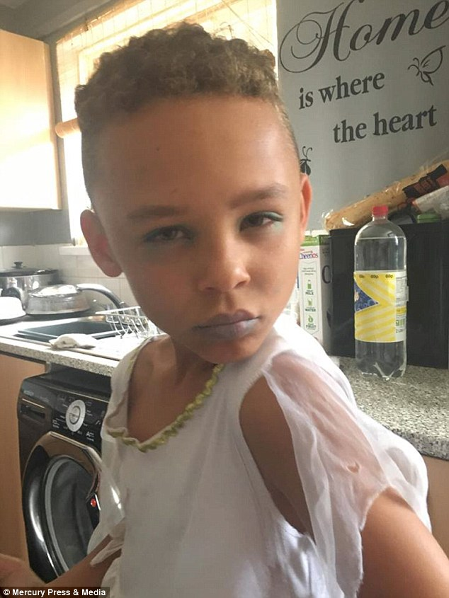 Fabian Butler, eight, from Gwent, in his angel outfit. The school boyloves sparkle and glitter and his favourite costume is the angel costume, according to mum Rachel