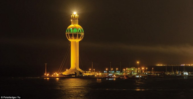 Completed in 1990, the Jeddah Port Control Tower in Saudi Arabia is a 431ft structure and is one of the world's tallest lighthouses. It incorporates a light and an observation platform. Built in futuristic style from steel and concrete, it incorporates lifts for personnel and visitors. It emits three white flashes every 20 seconds