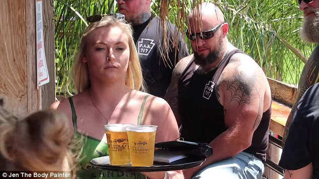 Captivated or confused? One man couldn't stop staring at Shannon's backside as she delivered beers to another table
