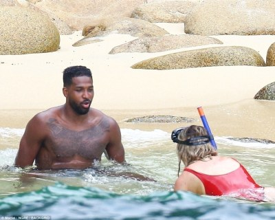 Swimsuit-ready : Khloe Kardashian and Tristan Thompson in Mexico