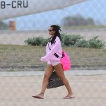 Rihanna cute in pink at the airport in Barbados
