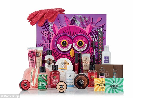 The Body Shop's 23 Days of The Echanted calendar contains £85 worth of products for just £45, including Almond Milk and Honey Body Butter, Green Tea Bath Bomb and exfoliating gloves
