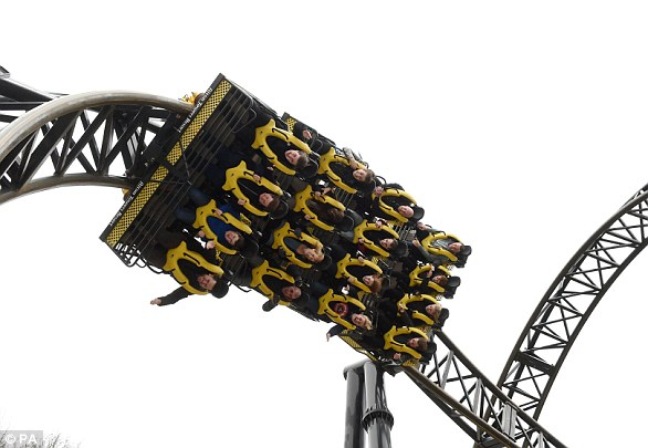 The Smiler at Alton Park, where 16 people were injured in a 2015 collision (file picture). An investigation found that a computer block stopping the ride because of a stationary car on the track had been over-ridden by staff, causing the crash