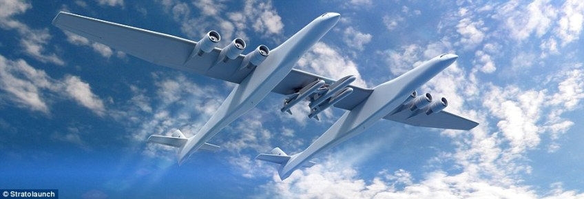 The aircraft - which is the vision of Microsoft co-founder Paul Allen - has a wingspan longer than a football field and comes equipped with two cockpits, 28 wheels and six engines normally used to power 747 jumbo jets