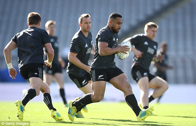 Ngani Laumape leads an attacking drill and will start at 12 against Australia at Eden Park