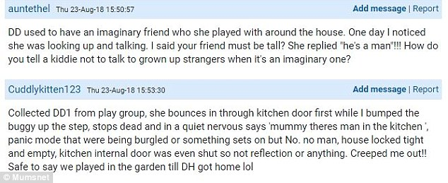 In the creepy Mumsnet thread one mother told how her daughter appeared to be able to see ghosts, admitting that she took the little girl to play in the garden until her husband was back