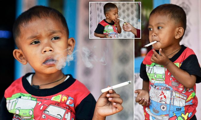 Smoking Indonesian toddler with 40-a-day habit 'is trying to stop ...