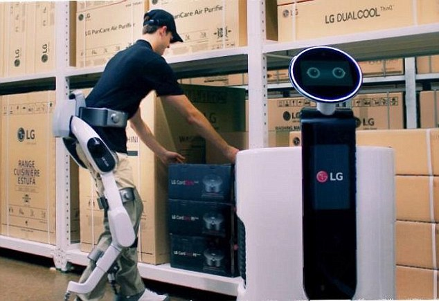 Workers of the future could be given a boost thanks to a wearable robotic suit being developed by LG.AI technology allows SuitBot to learn and evolve through recognition and analysis of biometric and environmental data