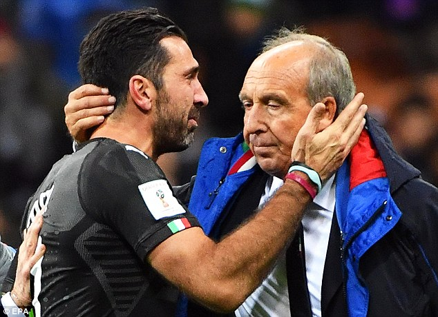 Italy coach Gian Piero Ventura and goalkeeper Gianluigi Buffon after the Azzurri lost to Sweden in a qualifying play-off for the World Cup in Russia