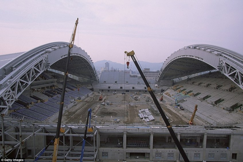 Here it is in 2001 under construction ahead of the 2002 football World Cup, when it hosted three group matches