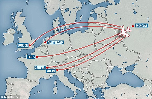 This map shows the European cities visited by the two alleged assassins in the two years before the Salisbury attack. They made at least six trips to Geneva