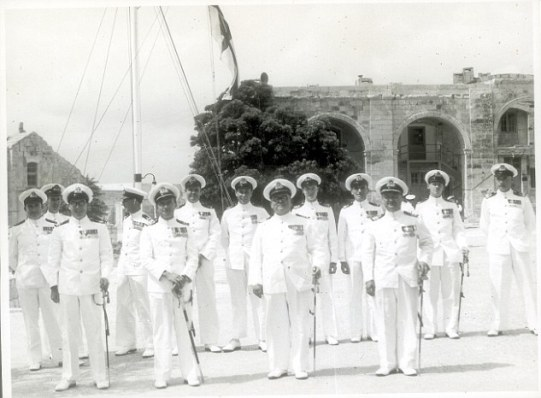 Eric Hitchens features in the front row, second left, as a naval officer in Malta in about 1950