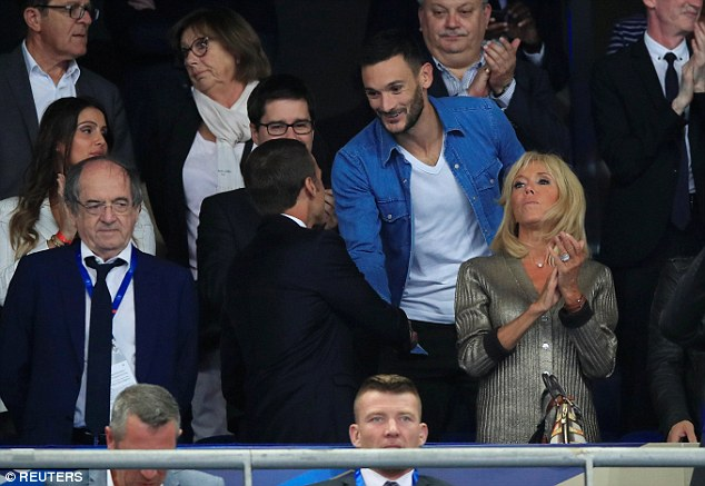 Captain and No 1 goalkeeper Hugo Lloris watches the match from the stands on Sunday