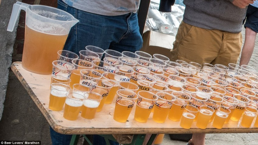 One of the rest stops at theBeer Lovers' Marathon, held in the city of Liege, where runners can sample 15 different beers as they complete the course